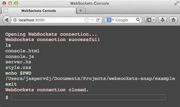 A WebSockets-based browser console